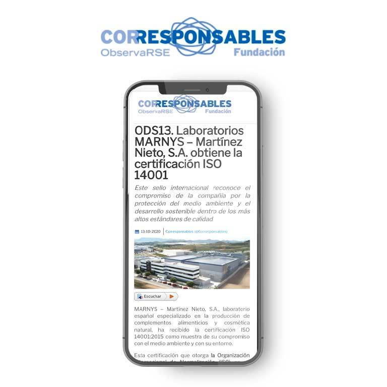 ODS13. Laboratorios MARNYS – Martínez Nieto, S.A. obtiene la certificación ISO 14001